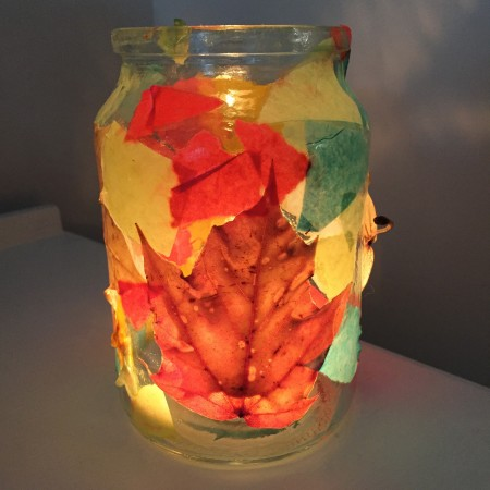 Autumn crafts, leaf lantern