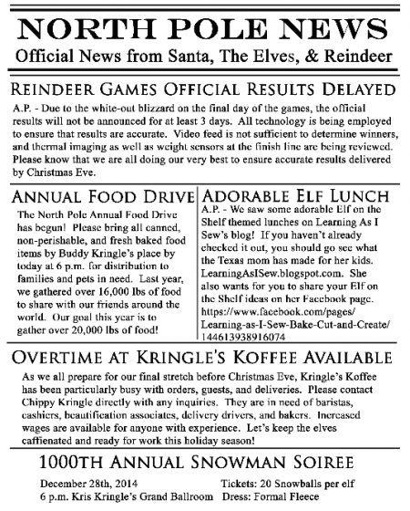 North Pole News Elf Newspaper