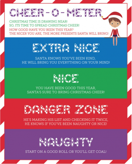 Elf on the shelf reward chart