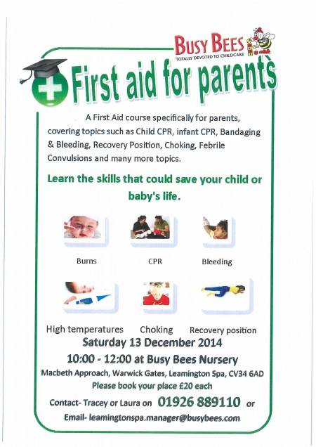 busy bees First Aid for parents poster-page-001