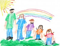 Kids crayon drawing of a family